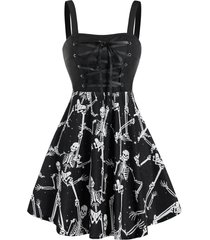 halloween skeleton print lace-up sleeveless skater dress