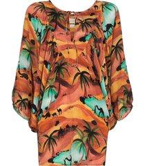 chufy oasis print batwing sleeve top - orange
