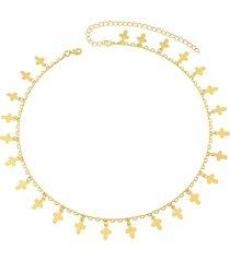 colar dona diva semi joias choker crucifixos dourado - dourado - feminino - dafiti