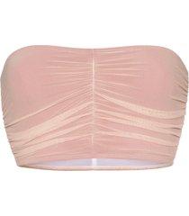 beth richards delrey ruched bandeau bikini top - pink