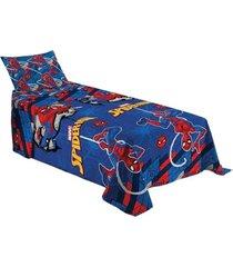 jogo de cama homem aranha 2 peã§as infantil solteiro - azul - menino - dafiti