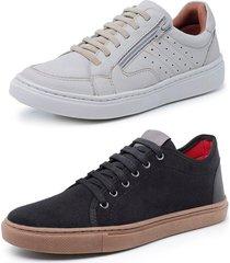 kit 2 sapatenis sandalo soft off white e levit preto
