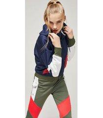 tommy hilfiger women's cropped hoodie sport navy - m