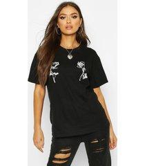 rose double print t-shirt, black