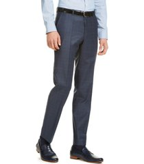 hugo men's modern-fit dark blue/rust plaid suit pants