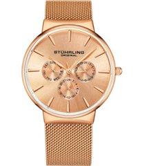 stuhrling men's rose gold mesh stainless steel bracelet watch 39mm