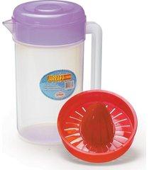 kit jarra c/espremedor e tampa cozinha plastico 2 litros - tricae