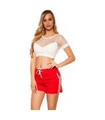 trendy shorts met strepen jaren 90 retro look rood