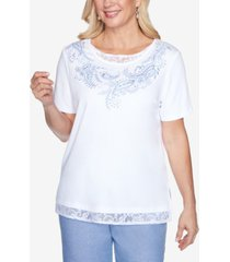alfred dunner lace trim embroidered paisley short sleeve knit top