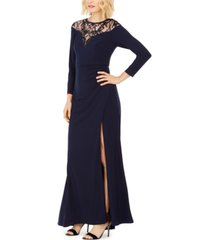 adrianna papell illusion-lace gown