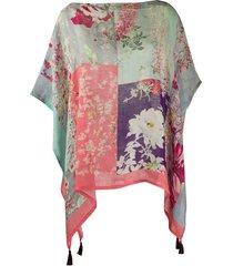 etro floral-print poncho - pink