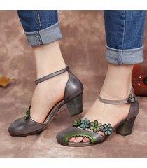 socofy décolleté con cinturino alla caviglia con fibbia ritagliata floreale in pelle decolleté con tacco largo