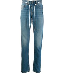 off-white cord belt slim-fit jeans - blue