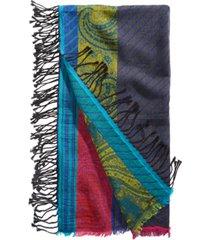 echo cotton stripe patchwork square scarf