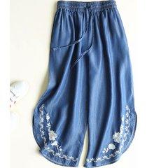 pantaloni vintage a gamba larga ricamati in vita elastica