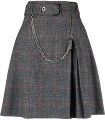 alberta ferretti belted plaid-check mini skirt - grey