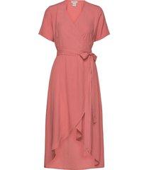 melanie wrap dress knälång klänning rosa residus