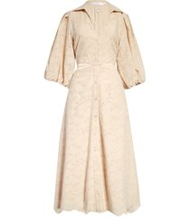 jonathan simkhai frida broderie anglaise cotton eyelet midi dress, size 8 in oat at nordstrom