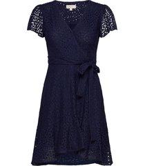 lace wrap dress knälång klänning blå michael kors