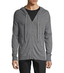 heathered zip-front cashmere hoodie