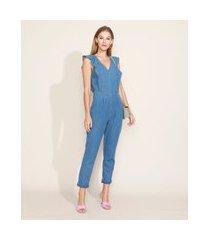 macacão jeans feminino com babado sem manga azul médio