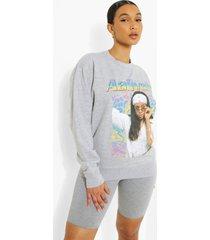 oversized gelicenseerde aaliyah sweater, grey marl
