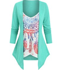 2 in 1 dream catcher printed top
