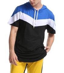 sudadera con capucha de patchwork tricolor para hombre sudadera con capucha casual de moda con cordón