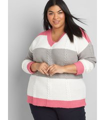 lane bryant women's colorblock pullover sweater 10/12 grey and pink colorblock