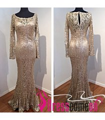 2015 mermaid scoop long sleeves gold sequined prom/evening/cocktail/party dress