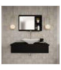 conjunto para banheiro bancada com cuba l38 folha e espelheira city 801 preto ônix