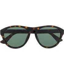 gucci eyewear tortoiseshell soft-round sunglasses - brown