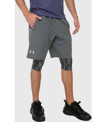 pantaloneta gris-negro under armour ua launch sw