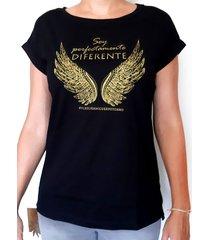 camiseta - de algodón estampada letras doradas- negra