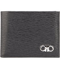 salvatore ferragamo signature gancino logo textured leather wallet