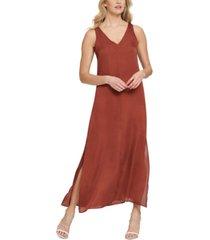 dkny sleeveless side slit maxi dress