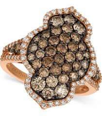 le vian chocolatier diamond cluster statement ring (2-1/20 ct. t.w.) in 14k rose gold