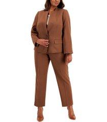 le suit plus size stand-collar crepe pantsuit