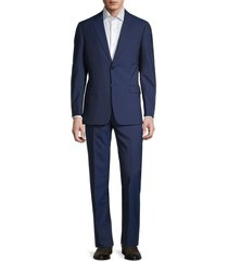 armani collezioni men's solid wool suit - blue - size 60 (50) r