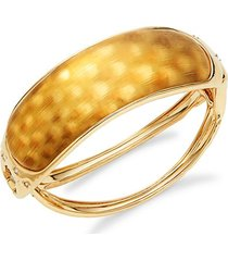 10k goldplated & crystal rocky hinged bangle bracelet