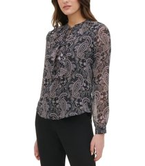 tommy hilfiger paisley print tie-front ruffle blouse