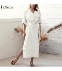zanzea camisa de manga corta con cuello en v para mujer vestido largo túnicas vestido a media pierna tallas grandes -blanco