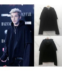 kpop exo kris cap hoodie sweater false two piece sweatershirt merchandise coat