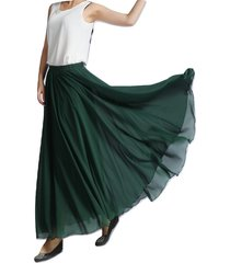 women maxi chiffon skirt dark-green silky chiffon maxi skirt beach wedding skirt