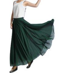 women maxi chiffon skirt dark-green silky chiffon maxi skirt beach wedding skirt