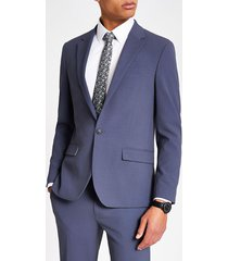 river island mens blue single breasted skinny fit suit jacket