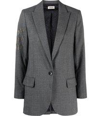 zadig & voltaire rhinestone-embellished blazer - grey