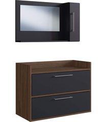 conjunto de balcão e espelheira p/ banheiro biara preto/nogueira estilare móveis