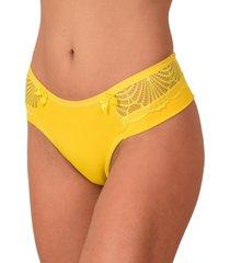 calcinha fio duplo vip lingerie poliamida com renda amarelo