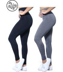 kit 2 leggings plus size heide ribeiro preto e cinza leg basic suplex